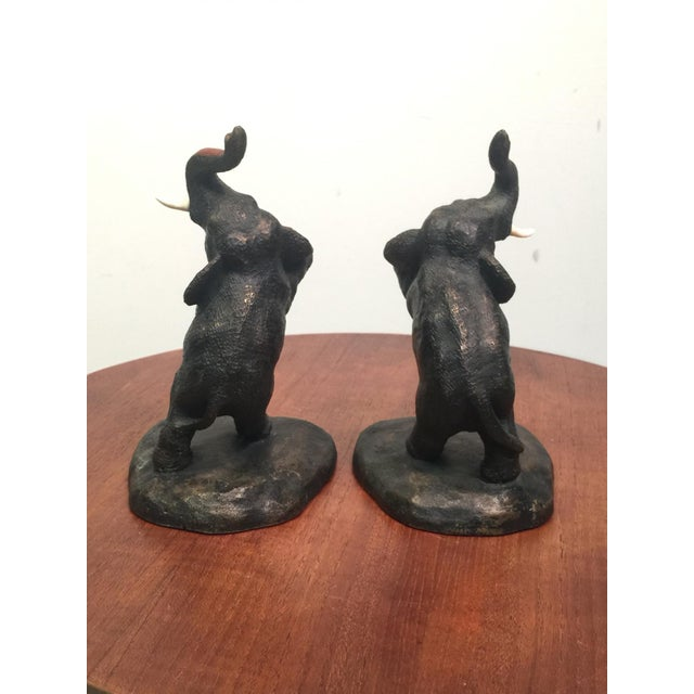 1920s Franz Walter Bergmann Polychromed Austrian Bronze Elephant Bookends For Sale - Image 4 of 9