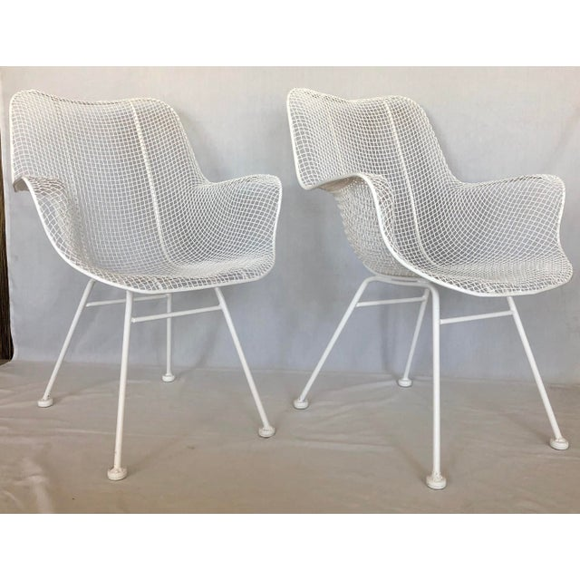 1960s Vintage White Sculptura Russell Woodard Patio Chairs- A Pair For Sale - Image 13 of 13