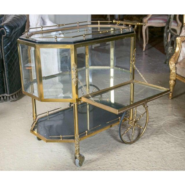 Hollywood Regency Bronze & Glass Vitrine Tea Wagon Cart For Sale - Image 3 of 8