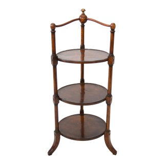 Antique English Mahogany Three Tiered Dessert Server For Sale