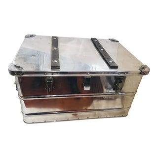 1960s Vintage Polished Aluminum Trunk For Sale