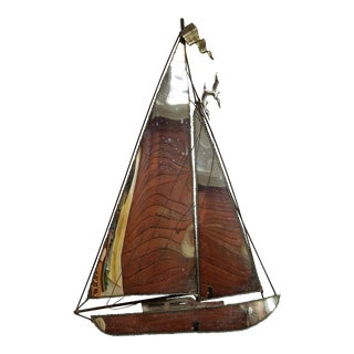 Metal Sailboat on a Onyx Base For Sale