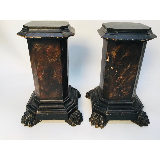 18th Century Italian Marbleized and Carved Pedestals- a Pair For Sale - Image 13 of 13