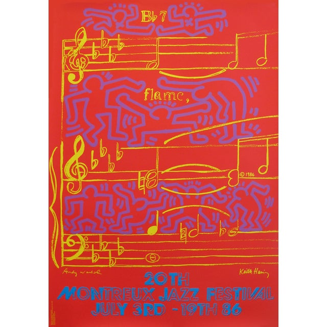 1986 Montreux Jazz Festival Poster, Keith Haring and Andy Warhol For Sale