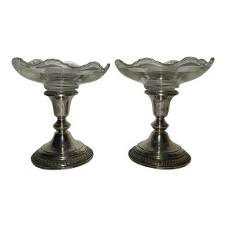 Mid 20th Century Sterling Silver Weighted Compote Dishes - a Pair For Sale