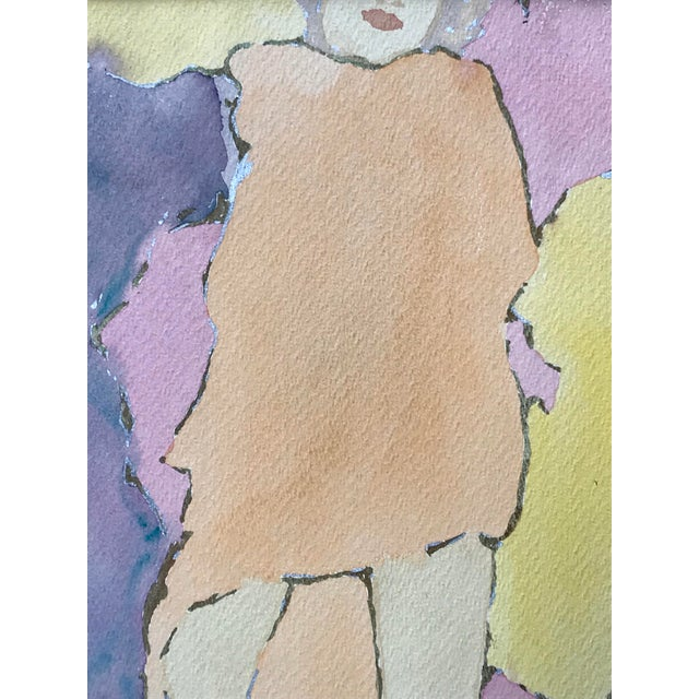 Vintage Mid Century Watercolor figurative Painting signed indistinctly lower right. Presented matted and framed.