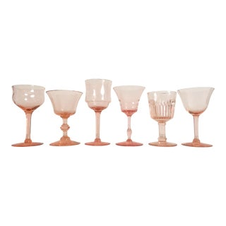 Vintage Blush Pink Wine Glasses - Set of 6