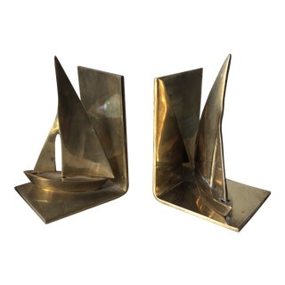 Vintage Brass Sailboat Bookends** - a Pair For Sale