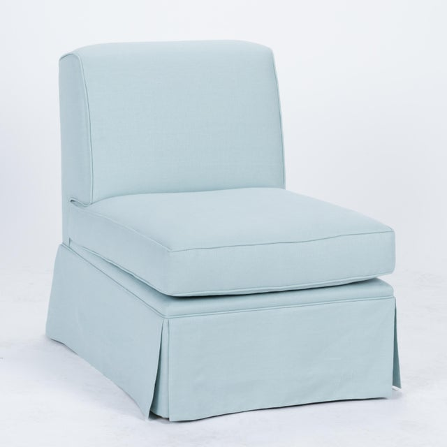 English Traditional Casa Cosima Skirted Slipper Chair in Porcelain Blue, a Pair For Sale - Image 3 of 8