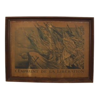 1918 Ww1 French Liberation Poster Antique Framed Lithograph For Sale