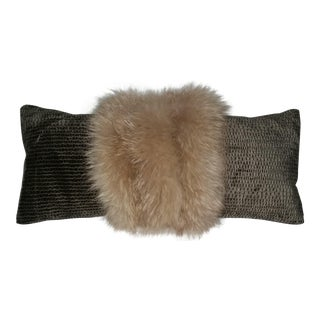 Contemporary Blush Fox With Silvery Green Velvet Long Lumbar Pillow For Sale