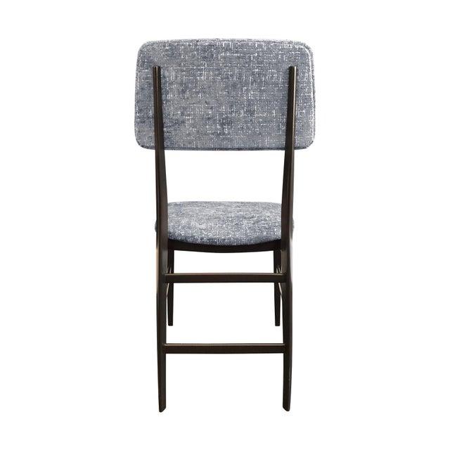 Italian Midcentury Italian Vittorio Dassi Wood Frame Dining Chair in Steel Blue Velvet For Sale - Image 3 of 5