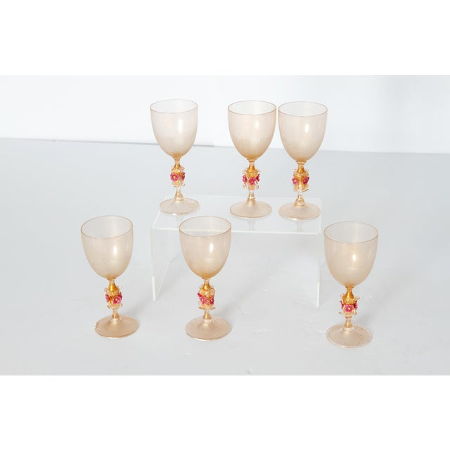 Murano Amber Glass Wine Goblets From Italy For Sale - Image 9 of 13