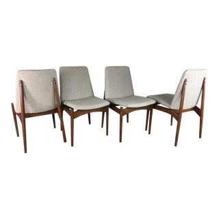 1960s Mid-Century Modern Walnut Gray Floating Dining Chairs - Set of 4 For Sale