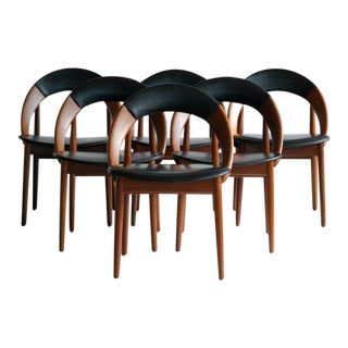 Very Rare Set of Six Dining Chairs by Arne Hovmand Olsen For Sale