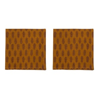 Fern Napkins, Mustard & Brown - A Pair For Sale