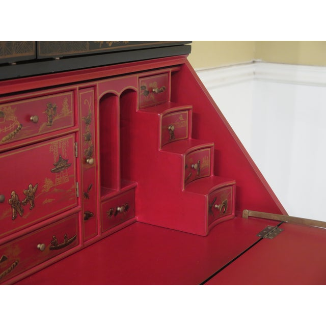2000 - 2009 Chinoiserie Decorated Secretary Desk With Fitted Interior For Sale - Image 5 of 13