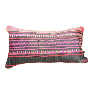 "Vintage Hmong Applique Pillow Black & Pink - 22"" x 11"""