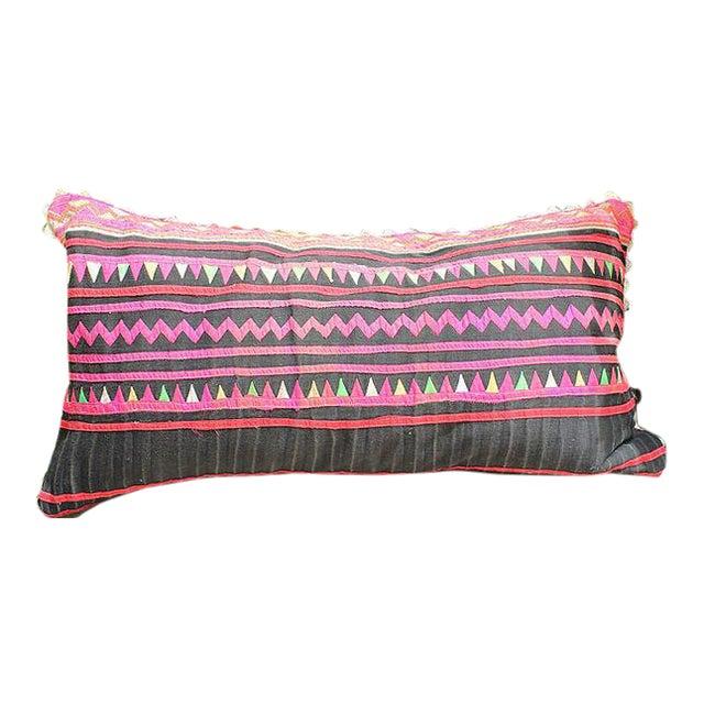 "Vintage Hmong Applique Pillow Black & Pink - 22"" x 11"" - Image 1 of 4"