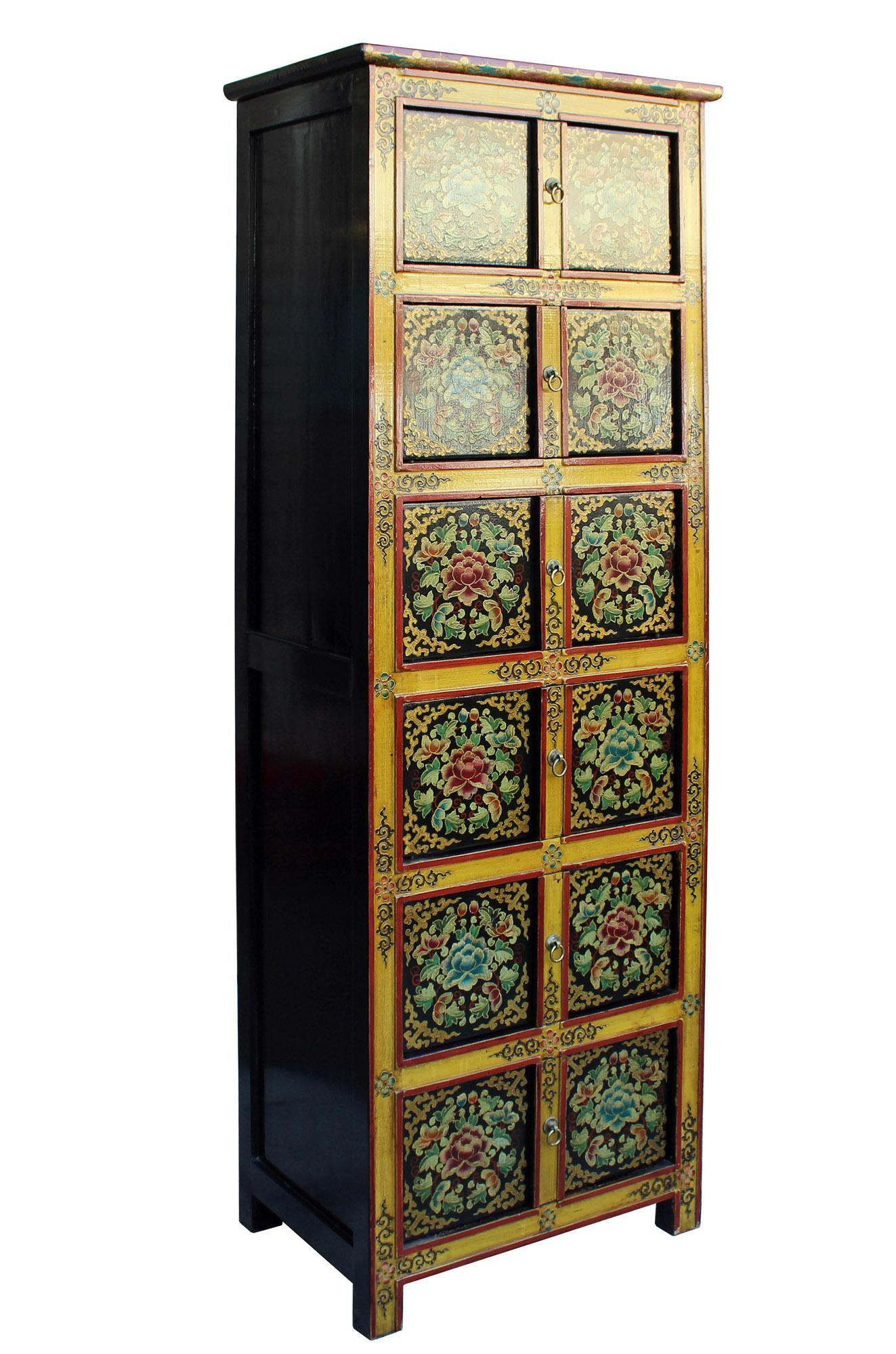 Chinese Tibetan Floral Graphic Tall Slim Multi Shelves Cabinet   Image 5 Of  6
