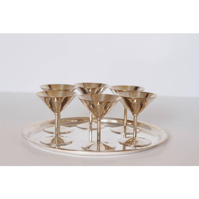 Machine Age Art Deco Silver Plate Cocktail Set by WMF Germany Very elegant compact Bauhaus influenced set. Excellent...