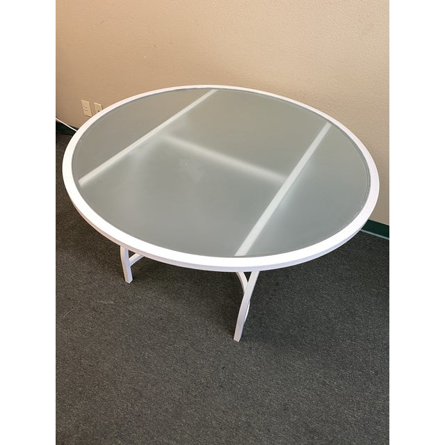 Metal Janus Et Cie Frosted Glass Dining Table For Sale - Image 7 of 11