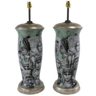Decalcomania Hand-Painted Table Lamps - A Pair For Sale