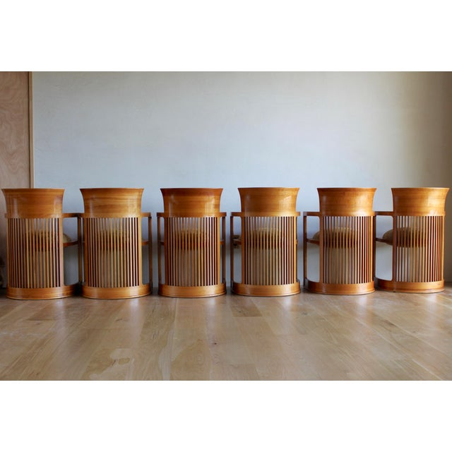 Cherry Wood Vintage 1986 Frank Lloyd Wright for Cassina Taliesin 606 Barrel Chairs - Set of 6 For Sale - Image 7 of 13