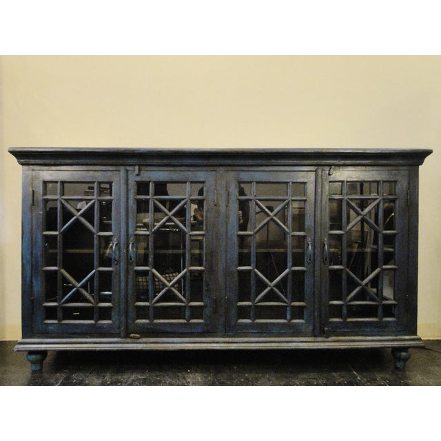 Blue Wood and Glass Sideboard - Image 2 of 6