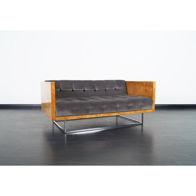 """Stunning vintage burl wood """"Case"""" loveseat designed by Milo Baughman for Thayer Coggin. The chrome base gives the illusion..."""