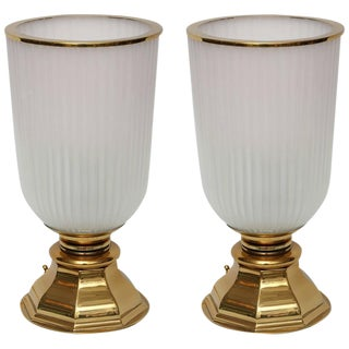 Glass and Brass Urn Table Lamps, Pair For Sale