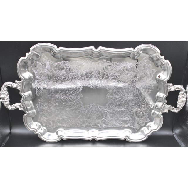French Silver Plate Footed Tray With Ornate Scrolls and Engravings For Sale - Image 10 of 10
