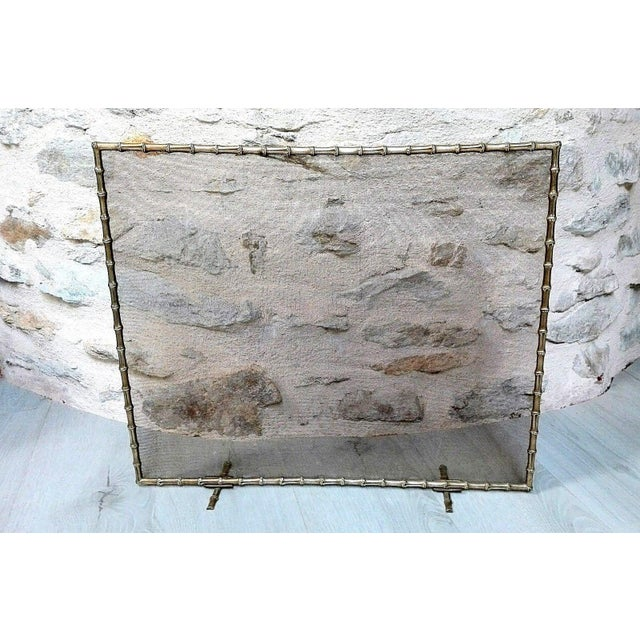 1940s French Art Deco Maison Bagues Bronze Fireplace Screen - Bamboo For Sale - Image 10 of 11