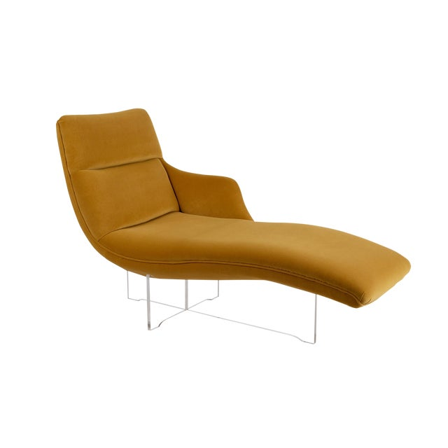 """Vladimir Kagan """"Erica"""" Chaise in Yellow With Lucite Base For Sale"""