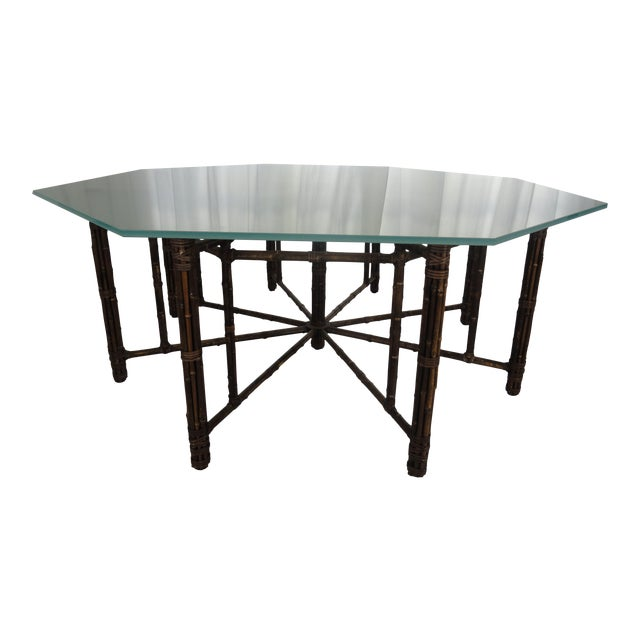 McGuire Octagonal Bamboo and Rattan Dining Table For Sale