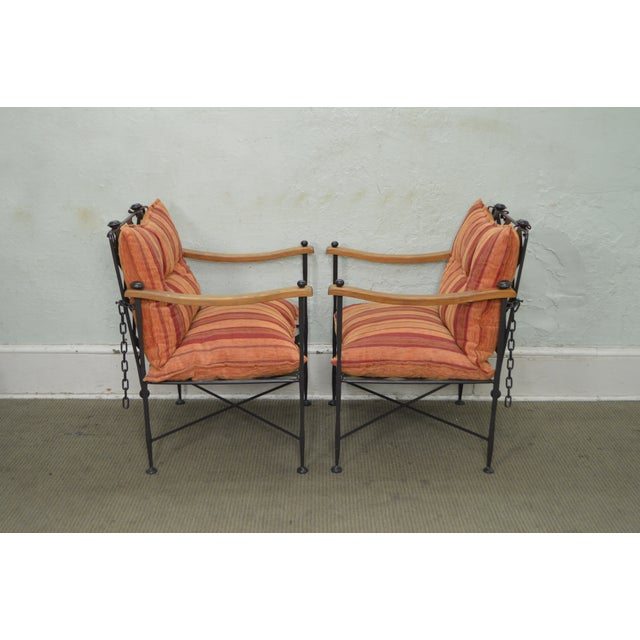 Traditional Hand Forged Steel Frame & Wood Frame Reclining Arm Chairs For Sale - Image 3 of 10