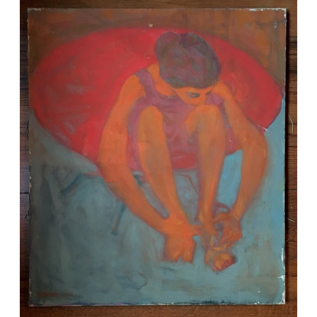 """""""Young Girl in a Red Chair"""" Painting on Canvas For Sale In New York - Image 6 of 6"""