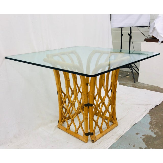Stunning Vintage Mid Century Era, Hollywood Regency Chinese Chippendale Style Boho Chic Rattan & Glass Top Table. Base...