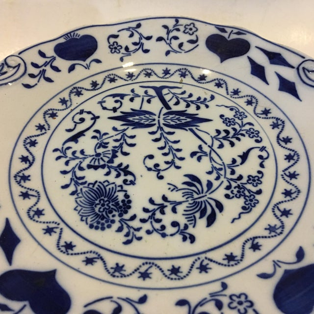 Mid-Century Modern Blue & White Porcelain Serving Plate For Sale - Image 3 of 5