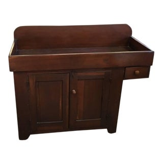 Large Original 1800's Dry Sink, Wash Stand, Three Storage Compartments For Sale