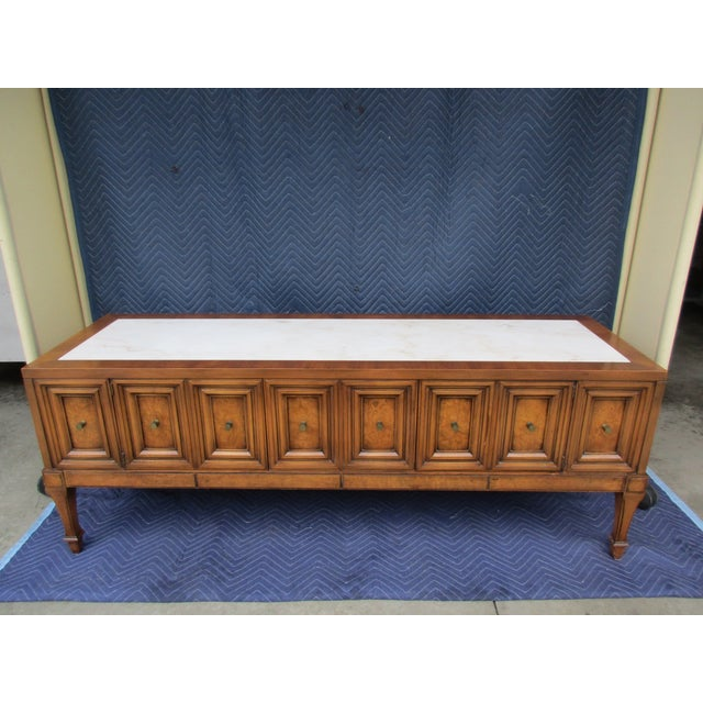 1970s Hollywood Regency Weiman Burl Wood Console Cabinet For Sale - Image 12 of 12
