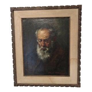Vintage Oil Portrait of Rabbi Frank M. Tauriello