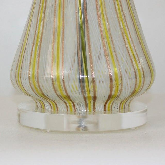 Italian Mid-Century Murano Latticino Glass Lamp For Sale - Image 3 of 9