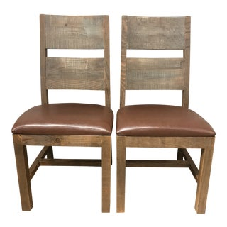 Rustic Wooden Upholstered Accent Chairs - a Pair For Sale