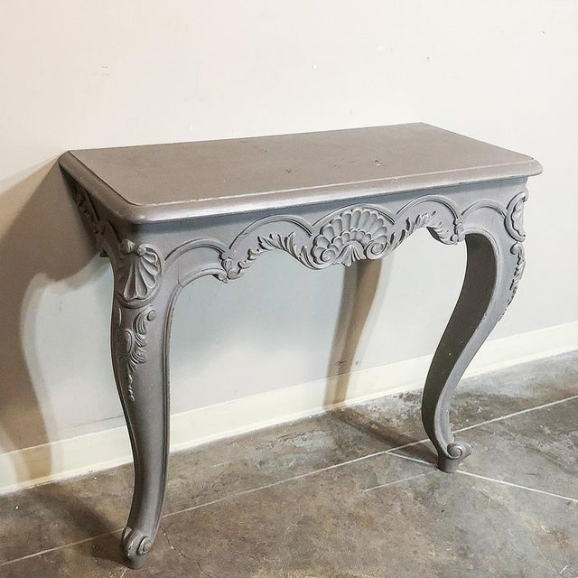 Gray Pair 19th Century French Louis XV Painted Consoles For Sale - Image 8 of 13