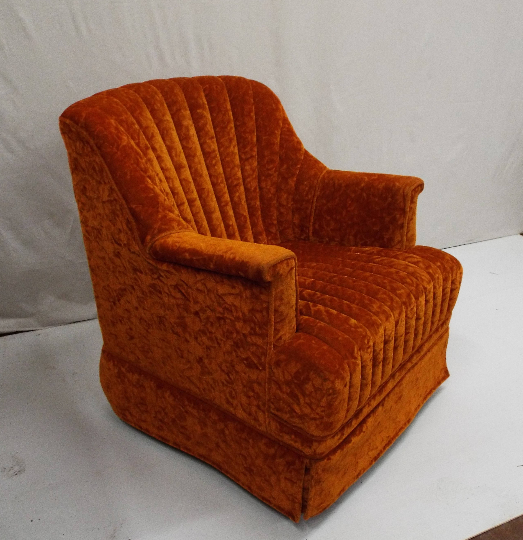 Haute Orange Crushed Velvet Channel Back Swivel Rocker Accent Lounge Chair    Image 2 Of 6
