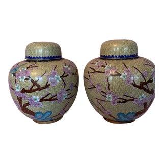 Cloisonne Ginger Jars - a Pair For Sale