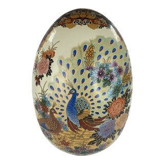 Oversized Colorful Peacock Theme Accent Egg For Sale