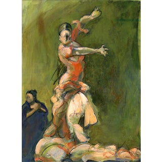 """""""Flamenco Dancer and Singer"""" Contemporary Figurative Acrylic Painting For Sale"""