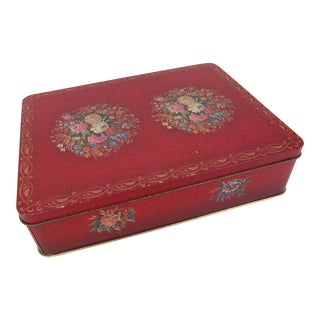 Vintage English Biscuit Tin With Roses For Sale